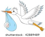 white stork delivers a newborn... | Shutterstock . vector #42889489