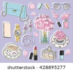 Fashion accessories set. Background with bag, sunglasses, jewelery, makeup, tea, coffee and flowers. Vector fashion illustration. fashion, fashion, fashion, fashion, fashion, fashion, fashion, fashion   Shutterstock vector #428895277