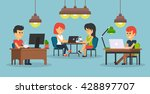 people work in office design... | Shutterstock . vector #428897707