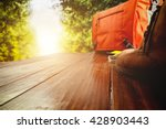 space of wood table and travel... | Shutterstock . vector #428903443