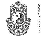 vector hamsa hand drawn symbol. ... | Shutterstock .eps vector #428910043