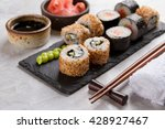 sushi rolls set with marinated...   Shutterstock . vector #428927467