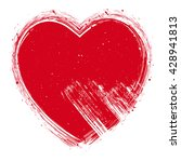red hand drawn heart with... | Shutterstock .eps vector #428941813