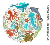circle vector set of cartoon... | Shutterstock .eps vector #428950297