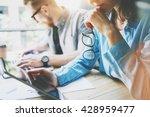 coworking team brainstorming in ... | Shutterstock . vector #428959477