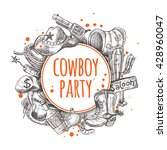 cowboy party. seamless pattern... | Shutterstock .eps vector #428960047