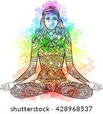 woman sitting in yoga lotus... | Shutterstock .eps vector #428968537