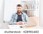 cheerful bearded young... | Shutterstock . vector #428981683