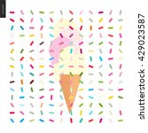 pink and vanilla ice cream cone ... | Shutterstock .eps vector #429023587
