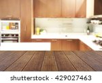 wood table top on blur the... | Shutterstock . vector #429027463