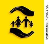 hand holding a symbol of family.... | Shutterstock .eps vector #429031723