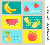 summer fruit and berry cards.... | Shutterstock .eps vector #429051193