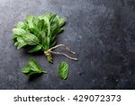 Fresh Mint Leaves Herb On Ston...