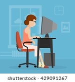 woman uses a computer flat... | Shutterstock . vector #429091267
