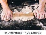 hands baking dough with rolling ... | Shutterstock . vector #429128983
