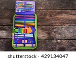 pencil case with various... | Shutterstock . vector #429134047