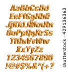3d gold alphabets on isolated... | Shutterstock . vector #429136363
