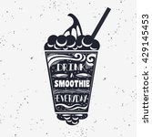 smoothie. vegan  typography... | Shutterstock . vector #429145453