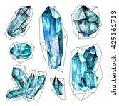 watercolor geometric gems... | Shutterstock . vector #429161713