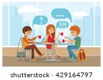 group of friends in cafe  ... | Shutterstock .eps vector #429164797