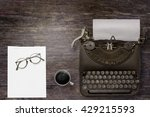 top view of stuff office desktop | Shutterstock . vector #429215593