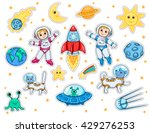 set of stickers with space... | Shutterstock .eps vector #429276253