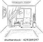 interior sketchy illustration... | Shutterstock .eps vector #429289297