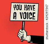 poster in hand  business... | Shutterstock .eps vector #429297547