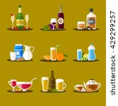 different drinks with bottles ... | Shutterstock . vector #429299257