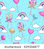 lollipops  rainbow  clouds and... | Shutterstock .eps vector #429336877