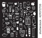 dishware doodles white on black