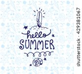 hello summer with surfboard and ... | Shutterstock .eps vector #429381067