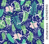tropical palm leaf pattern ... | Shutterstock . vector #429405943