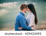 happy couple hugging while... | Shutterstock . vector #429423493