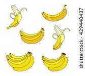 set of yellow bananas.... | Shutterstock .eps vector #429440437