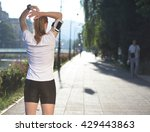 fit blonde runner   woman... | Shutterstock . vector #429443863