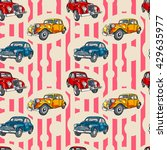 retro car. vintage. striped... | Shutterstock .eps vector #429635977