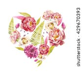 Watercolor Floral Heart. Hand...