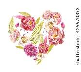 watercolor floral heart. hand... | Shutterstock . vector #429670393