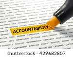 Small photo of Word Accountability highlighted with marker on paper of other related words.business success concept.