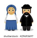 cartoon cute husband and wife...   Shutterstock .eps vector #429693697