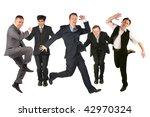 many jumping men on the white | Shutterstock . vector #42970324