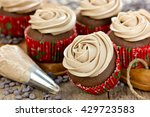 chocolate cupcakes decorated... | Shutterstock . vector #429723583