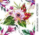watercolor tropical pattern ... | Shutterstock . vector #429762283