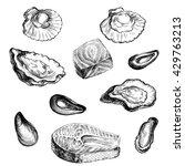 illustration ink seafood... | Shutterstock . vector #429763213