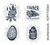 hand drawn vintage badges set... | Shutterstock .eps vector #429772063