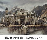 fantasy stone caste with a... | Shutterstock . vector #429837877