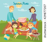 happy family on picnic. parents ...   Shutterstock .eps vector #429877207