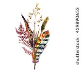 watercolor boho bouquet of... | Shutterstock . vector #429890653