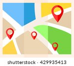 flat map with pins. vector... | Shutterstock .eps vector #429935413